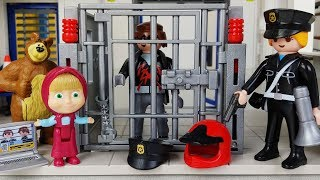 Masha and Bear Playmobil Police Station and Police Car toys Jail play - 토이몽