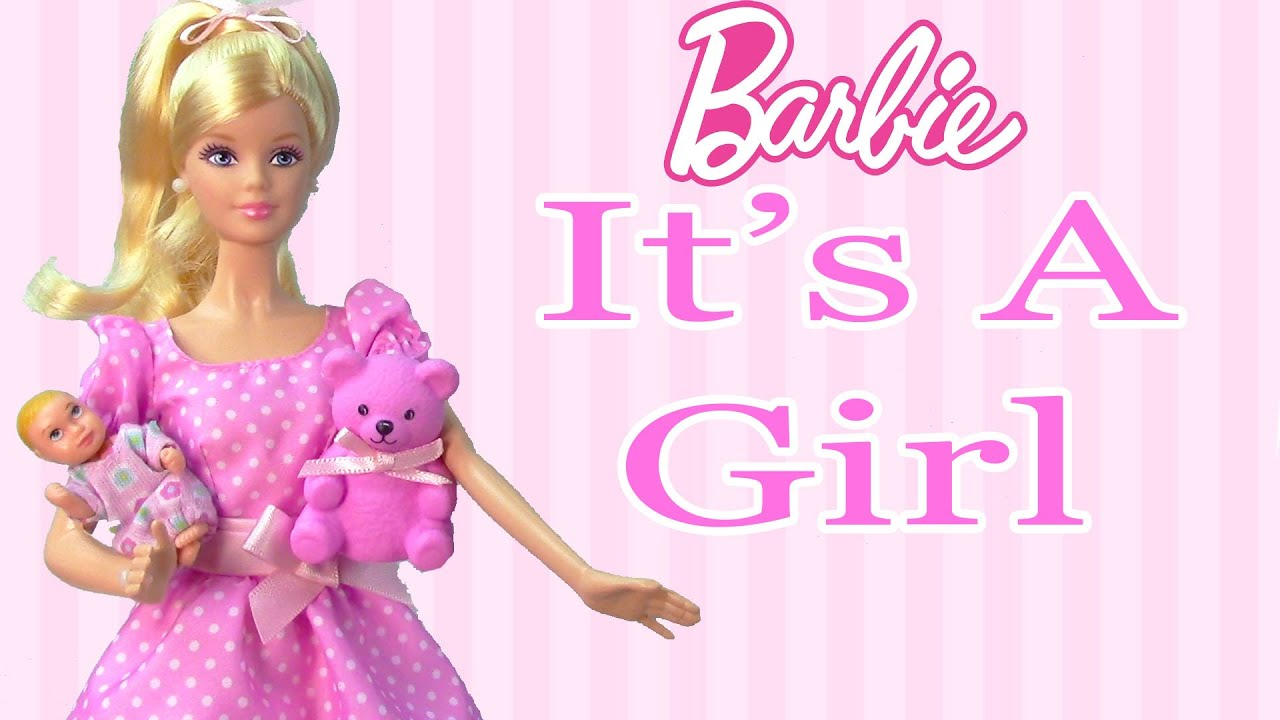 It's A Girl Barbie Doll Collectors Pink Teddy Bear New Born Baby Mattel  Unboxing Toy Review - YouTube