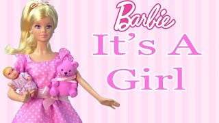 It's A Girl Barbie Doll Collectors Pink Teddy Bear New Born Baby Mattel Unboxing Toy Review