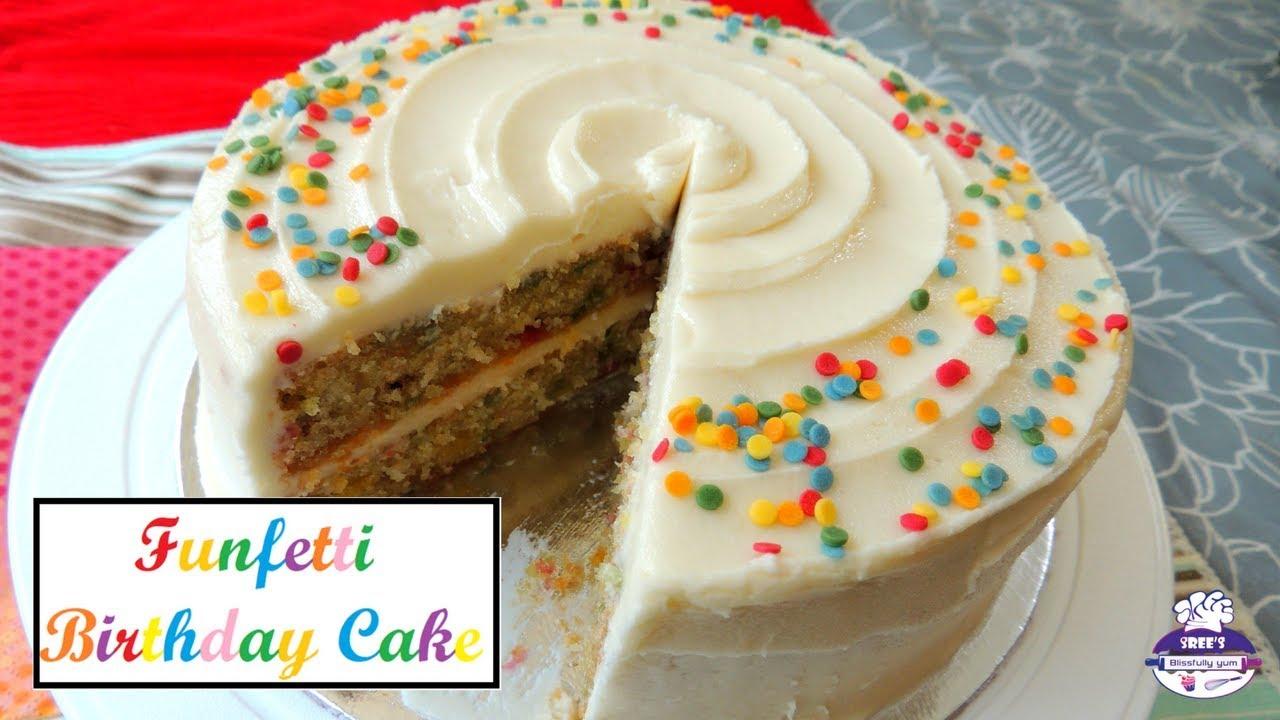 Funfetti Birthday Cake Best Eggless Vanilla Sponge Cake Srees