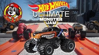 Hot Wheels Ultimate Monster Jam Toy Trucks Downhill Racing and Playing - 4 ROUNDS OF RACES