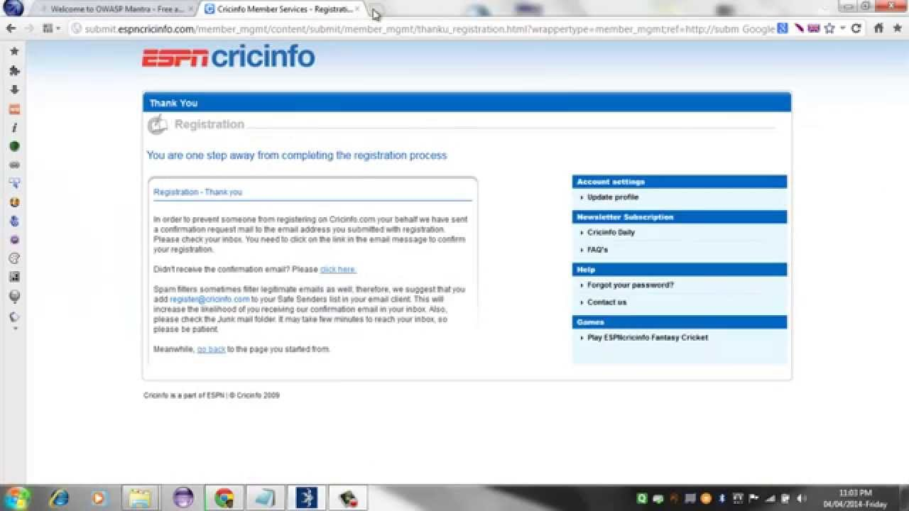 Proof to Cricinfo (espn) of XSS present in there website