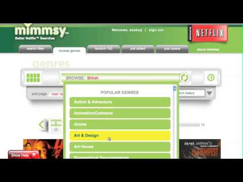 Browsing Netflix Streaming Movies by genre on Mimmsy.com