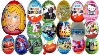 21 disney kinder surprise eggs pixar cars mickey mouse star wars hello kitty filly kinder joy