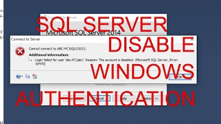 SQL Server How to Delete Disable Windows authentication login(https://www.youtube.com/channel/UCYRQ3JjX6KS6Z9VuGHdTuVQ?sub_confirmation=1 If you are using Active Directory you should be able to disable whole ..., 2017-02-08T22:09:17.000Z)