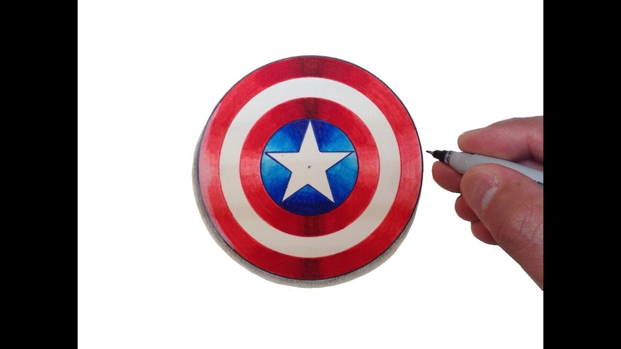 Captain America Shield Drawing: How To Draw The Captain America Logo Shield