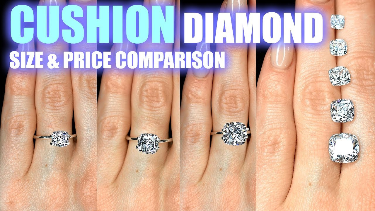 Cushion cut diamond size comparison on hand finger engagement ring shaped carat ct also rh youtube
