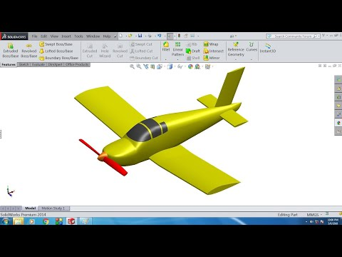 solidworks Airplane surface model (time lapse)