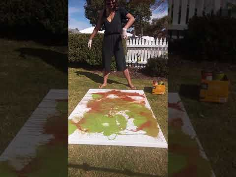 Perth Abstract Artist - Using wet paint