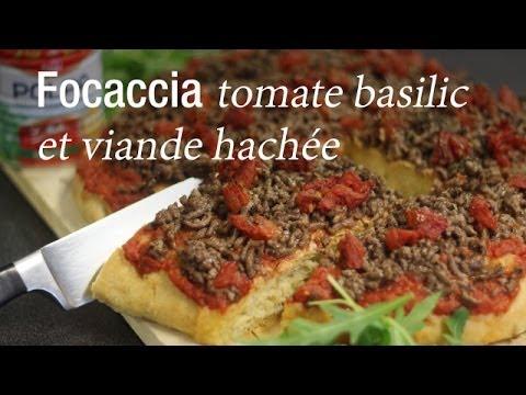 focaccia tomate basilic et viande hach e recette italienne cuisineaz youtube. Black Bedroom Furniture Sets. Home Design Ideas
