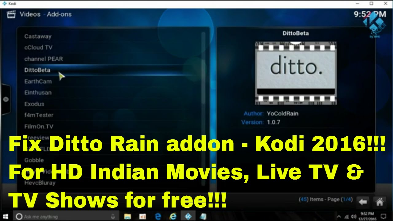 Ditto Rain Addon- Fix and installation in Kodi to watch ...