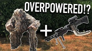 Invisible Ghillie Sniper with FULL AUTO MACHINE GUN! (painful)