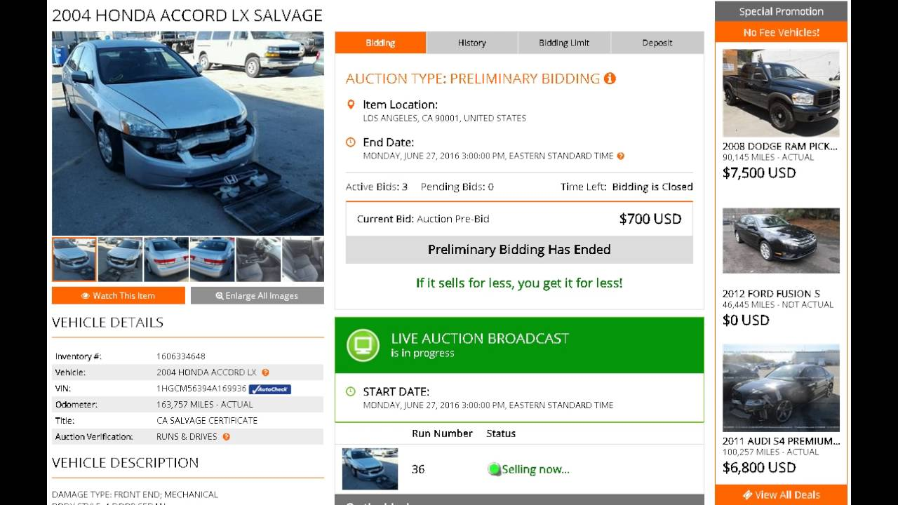 Car Auctions Online >> Buying Salvage Vehicles For Investment From Online Car Auctions