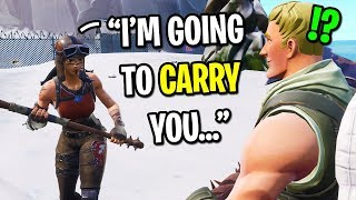 I used my biggest TRYHARD skin and CARRIED kids on Fortnite... (Renegade Raider)