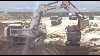 Liebherr 984C Excavator Loading Trucks With Two Passes