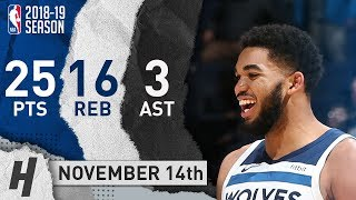 Karl-Anthony Towns Full Highlights Timberwolves vs Pelicans 2018.11.14 - 25 Pts, 3 Ast, 16 Rebounds!