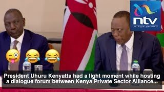 President Uhuru makes funny face at a meeting with businesspeople