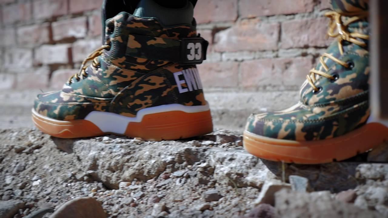 ThrowBacKing  Ewing 33 Hi Camo Sneakers   Jacket - YouTube f080b76879c7