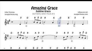 Video Amazing Grace Easy Notes Sheet Music for Beginners in treble Clef for Violin Flute Recorder Oboe download MP3, 3GP, MP4, WEBM, AVI, FLV Juli 2018