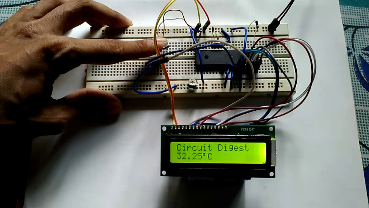 Digital Thermometer Using A Pic Microcontroller And Ds18b20 Youtube 8051