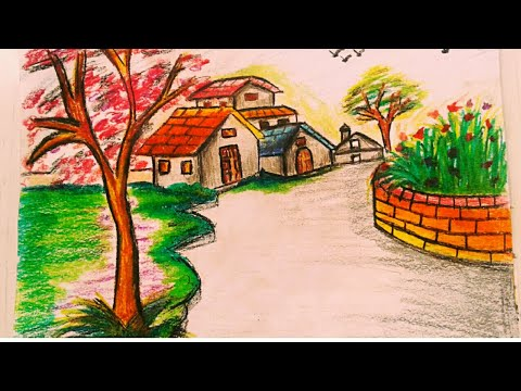 How to draw Landscape /scenery of beautiful nature For Kids | Easy & Step By Step | Artistic mind