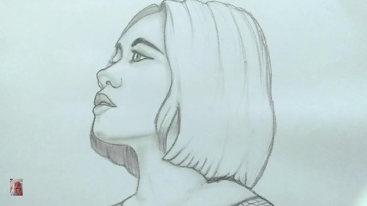 Vẽ cô gái tóc ngắn xinh đẹp - Drawing beautiful short hair girl.