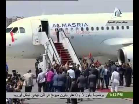 Rescued Ethiopians recieved to a red carpet by El Sisi in Cairo. Credit : Andargachew Tsige On FB