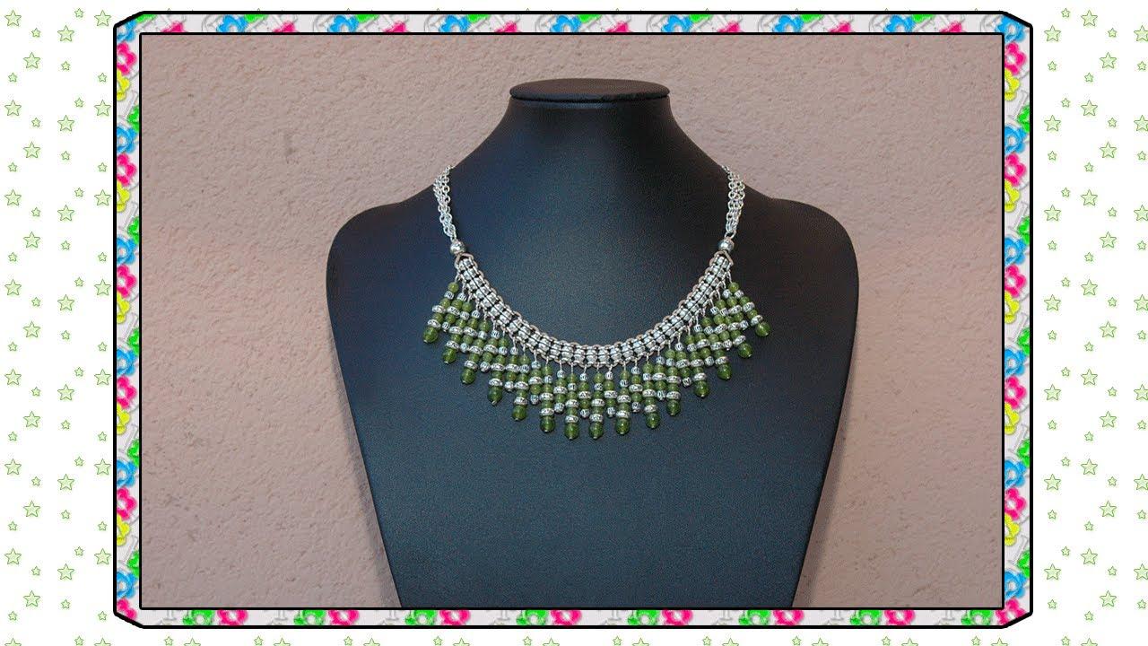 DIY Manualidades bisuteria , collares , collar egipcio jade verde , YouTube