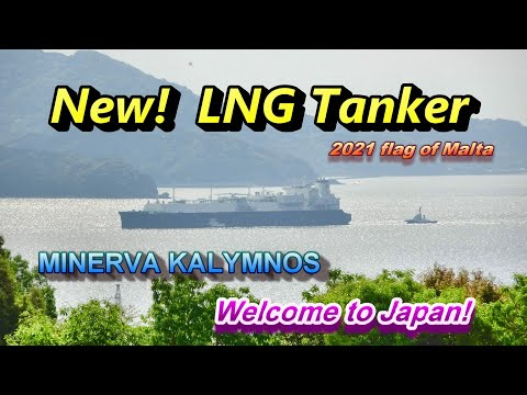 New! LNG Tanker MINERVA KALYMNOS Japanese scenery Huge vessel  built in 2021 flag of Malta Mega