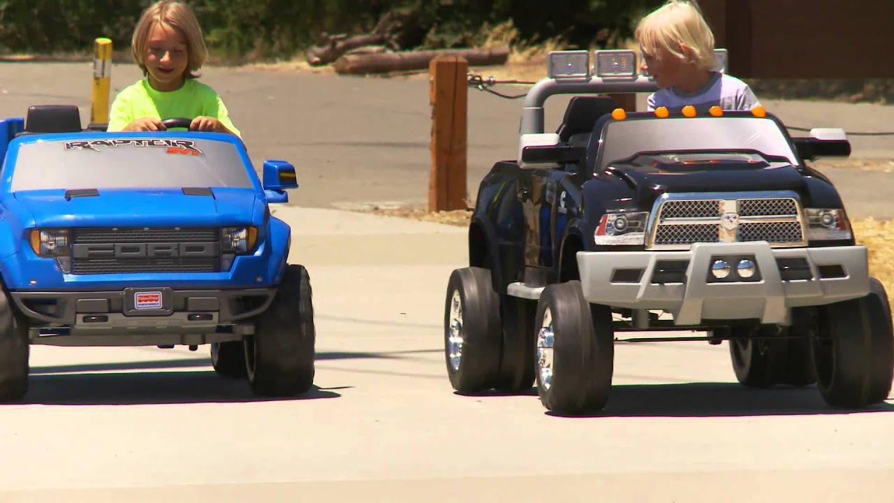 Electric Kids Cars >> Power Wheels Truck Sidewalk Race - YouTube