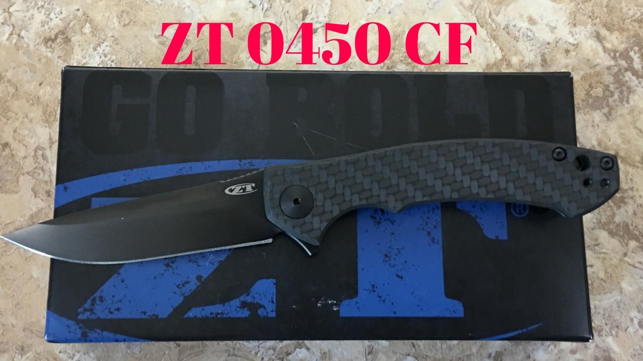 Zero Tolerance ZT0450CF titanium framelock flipper knife with carbon fiber  scales