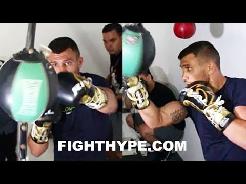 LOMACHENKO LETS HANDS FLY; KNOCKS DOUBLE-END BAG SILLY LIKE IT'S JORGE LINARES