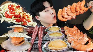 ENG SUB) ASMR MUKBANG grilled SEAFOOD octopus, shellfish, shrimp, abalone EATING SOUND!