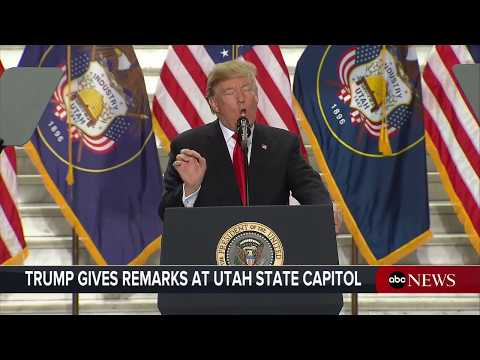 President Donald Trump delivers remarks at the Utah State Capitol