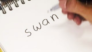 Very Easy Wordtoon ! How To Turn Words SWAN into A Cartoon Swan - Drawing for Kids #3