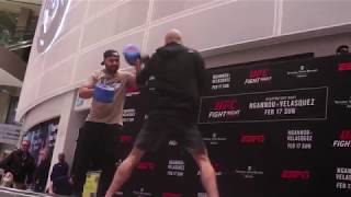 James Vick hits pads and answers questions at the UFC on ESPN Open Workouts