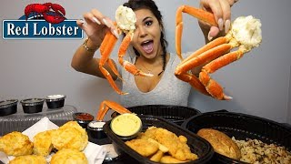 TRYING CRAB LEGS FOR THE FIRST TIME! Red Lobster Mukbang