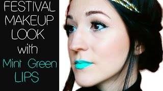 Festival Makeup Look with Mint Green Lips Thumbnail