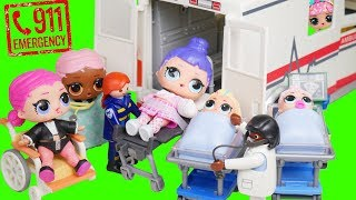 LOL Surprise! Doll Gets Hurt + Visits Giant Ambulance Hospital Unbox