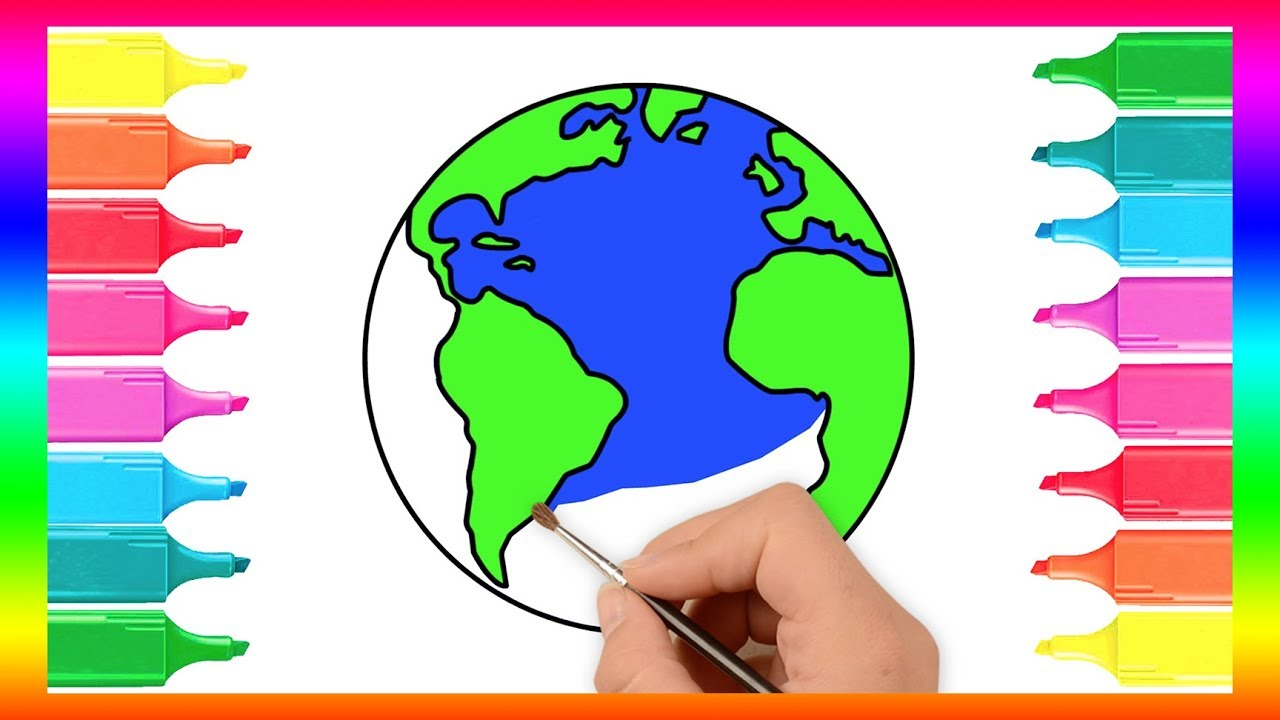 Learn How to Draw and Colour an Earth Globe | Coloring page for kids ...