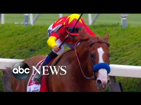Justify sprints to a win at the Belmont Stakes