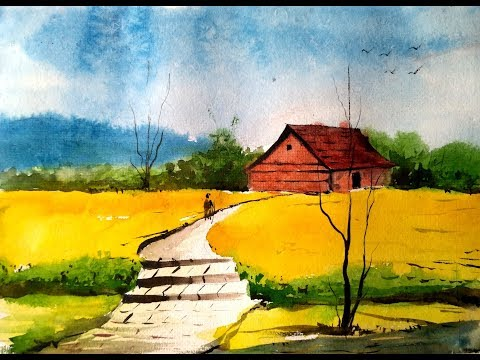 Simple Village Landscape with Watercolor – Paint with David