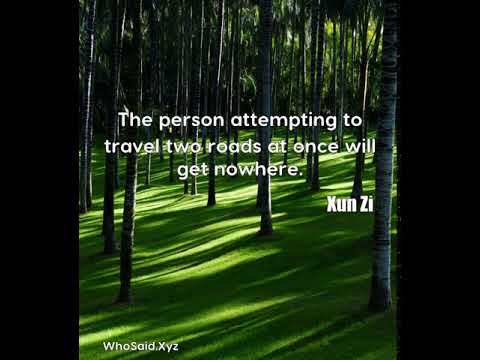 Xun Zi: The person attempting to travel two roads at once will get nowhere....