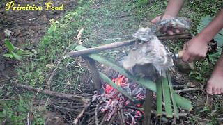 Primitive Technology -  Grilled Big Fish and  Cooking Eel Soup By Boy