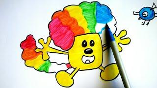 How To Draw Wubbzy As A Clown!!! | Wow Wow Wubbzy And Birdie Bird Colours for kids