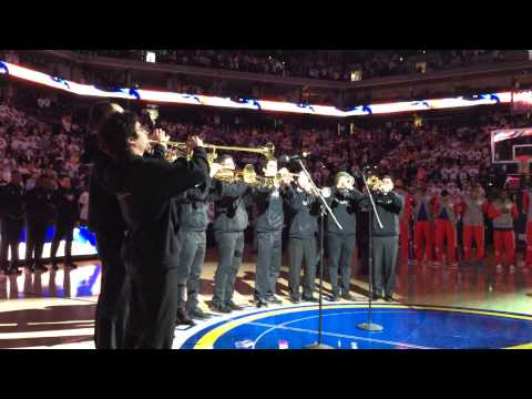 SFCM's Noble Trumpets perform the National Anthem at a Warriors Game