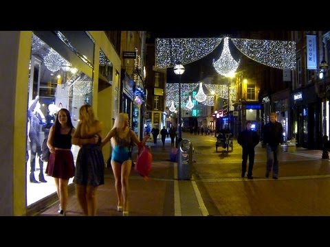Colors of night Dublin at Christmas time. Full HD.
