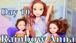 AllToyCollector Frozen Anna Dyes Hair RAINBOW like Rainbow Elsa Summer Fun Day 10
