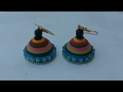 DIY Multi color jhumka/Quilling jhumka making without mould/how to make simple jhumka/Jhumka earring
