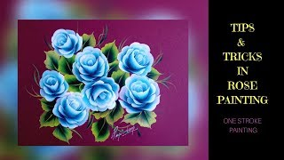 Tips And Tricks In Rose Painting | Blue Roses painting |  Acrylic painting